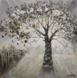 100 x 100 cm - Olieverfschilderij - Grijze Boom - natuur handgeschilderd