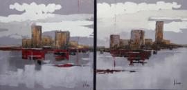 60 x 60 cm - Olieverfschilderij 2-luik - Stadsgrens - stadsgezicht skyline handgeschilderd