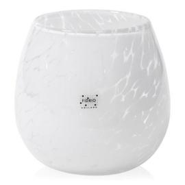 Design vaas Fidrio - glas kunst sculptuur - fiore - White granulat - mondgeblazen - 22 cm diep --