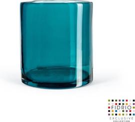 Design vaas Cilinder - Fidrio Lagoon - glas, mondgeblazen - diameter 18 cm hoogte 20 cm--