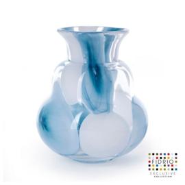 Design vaas Fidrio - glas kunst sculptuur - figura - Petrol - mondgeblazen - 20 cm hoog --