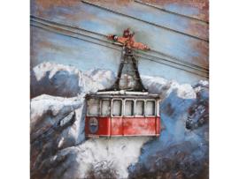 100 x 100 cm - 3D art Schilderij Metaal Rode berglift - handgeschilderd