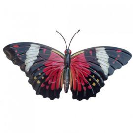 Wanddecoratie 3D metaal vlinder rood