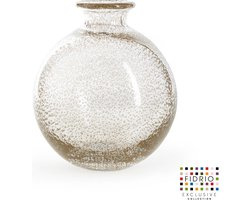 Design vaas Bolvase white neck - Fidrio BUBBLES CLEAR - glas, mondgeblazen bloemenvaas - diameter 19 cm