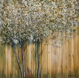 Olieverfschilderij - Bomen - 100x100 cm