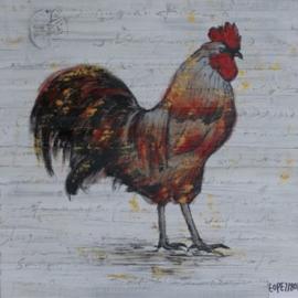Olieverfschilderij 2-luik - Hanen - 60x60 cm
