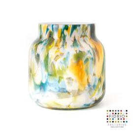 Design vaas Fidrio - glas kunst sculptuur - bloom colori - mondgeblazen - 20 cm hoog --
