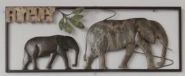 73 x 28 cm - wanddecoratie schilderij metaal - Frame Art - Olifanten