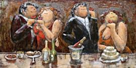 120 x 80 cm - 3D art Schilderij Metaal - etentje dikke dames - handgeschilderd