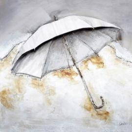 Olieverfschilderij - Witte paraplu - 100x100 cm