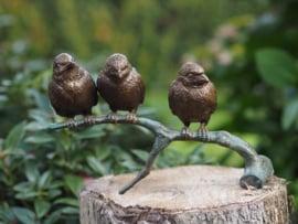 Tuinbeeld - bronzen beeld - Drie vogeltjes - Bronzartes --