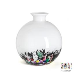 Design vaas Fidrio - glas kunst sculptuur - Bolvase - coral - mondgeblazen - 23 cm diep