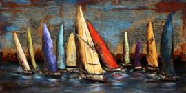 140 x 70 cm - 3D art Schilderij Metaal Kleurrijke Zeilboten - regatta -  handgeschilderd