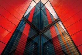 Glasschilderij - design gebouw - 120x80 cm
