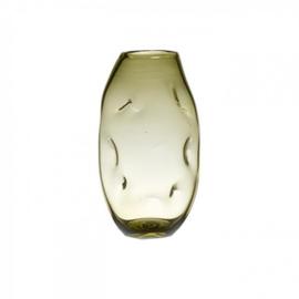 Design vaas Pot & vaas - glas kunst sculptuur - gekleurd glas - Vaas Rocky groen -  31 cm hoog --