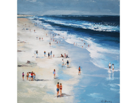100x100 cm - Olieverf Schilderij - Strand Vakantie - handgeschilderd