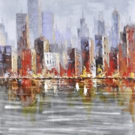 Olieverfschilderij - Figuratieve Stad - 100x100 cm