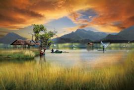 120 x 80 cm - Glasschilderij avondrood - schilderij fotokunst - landschap meer - foto print op glas