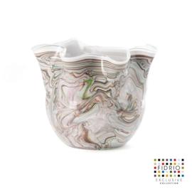 Design vaas Fidrio - glas kunst sculptuur - Wave - Coloured stripes - mondgeblazen - 20 cm hoog --