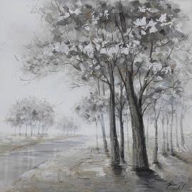 100 x 100 cm - Olieverfschilderij natuur - Bomen Zwart Wit - natuur  - natuur handgeschilderd