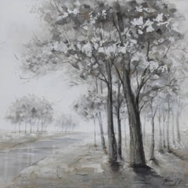 Olieverfschilderij - Bomen Zwart Wit - 100x100 cm