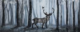 150 x 60 cm - Olieverfschilderij - Hert in het bos - handgeschilderd