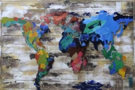 120 x 80 cm - 3D art Schilderij Metaal en hout -  Kleurrijke wereldkaart op hout - handgeschilderd
