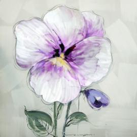 100 x 100 cm - Olieverfschilderij - Paarse Bloem - natuur handgeschilderd