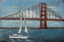 120 x 80 cm - 3D art Schilderij Metaal Zeilboot Golden Gate Bridge - metaalschilderij - stadsgezicht handgeschilderd