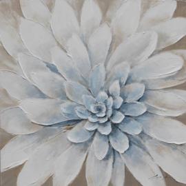 100 x 100 cm - Olieverfschilderij - Dahlia - bloem - natuur handgeschilderd