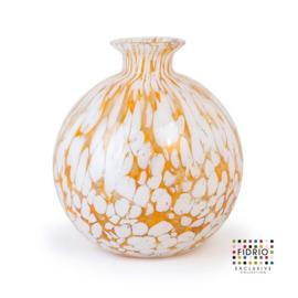 Design vaas Fidrio - glas kunst sculptuur - Bolvase fire - mondgeblazen - 23 cm diep --
