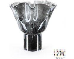 Design vaas Wave on base - Fidrio NERO - glas, mondgeblazen - hoogte 35 cm --