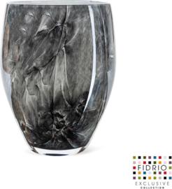 Design vaas oval - Fidrio NERO - glas, mondgeblazen - diameter 18 cm hoogte 25 cm --