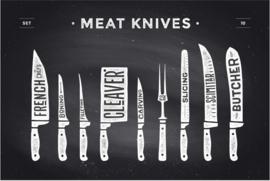 120 x 80 cm - Plexiglas Schilderij - Vleesmessen - reclame kunst afbeelding op acryl