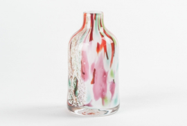 Design vaas Fidrio - glas kunst sculptuur - bottle - Mixed colours - mondgeblazen - 16 cm hoog --