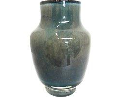 Design vaas Pearl Lagoon - Fidrio UNI COLOUR - glas, mondgeblazen bloemenvaas - diameter 20 cm hoogte 14 cm --