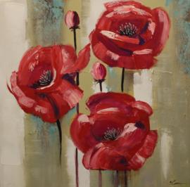 80 x 80 cm - Olieverfschilderij - Rode bloemen