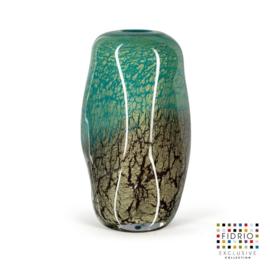 Design vaas Fidrio - glazen sculptuur - Fiji - floral - glas - mondgeblazen - 30 cm hoog
