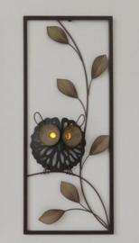25 x 60 cm - wanddecoratie schilderij metaal - Frame Art - Abstract - Kunst - Uil