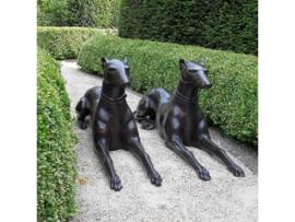 Tuinbeeld - groot bronzen beeld - Liggende honden - Bronzartes
