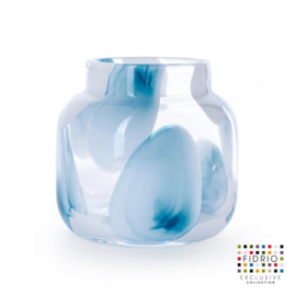 Design vaas Fidrio - glas kunst sculptuur - bloom - Petrol - mondgeblazen - 15 cm hoog --
