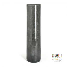Design vaas Fidrio - glas kunst sculptuur - cilinder - Smokey - mondgeblazen - 53 cm hoog