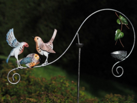 Metalen Tuinsteker - tuindecoratie - Kleurrijke vogels
