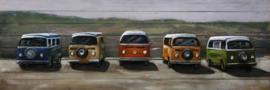 180 x 60 cm - 3D art Schilderij Metaal en hout - Volkswagen busjes T1 op hout - handgeschilderd
