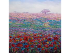 100x100 cm - Olieverf Schilderij - Bloemenweide - natuur handgeschilderd