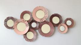 Metalen wanddecoratie - wanddeco - roze cirkels