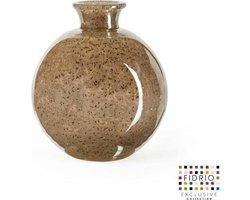 Design vaas Bolvase With Neck - Fidrio BRONZE - glas, mondgeblazen bloemenvaas - diameter 11 cm --