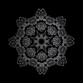 74 x 74 cm - Schilderij Dibond - Zwart Wit Mozaiek - dibond fotokunst op aluminium