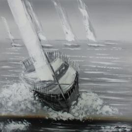 100 x 100 cm - Olieverfschilderij - Zeilboten Grijs - handgeschilderd