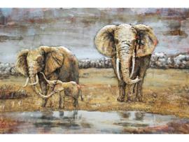 120 x 80 cm - 3D art Schilderij Metaal - olifanten - handgeschilderd